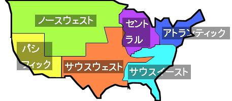 NBA6地区シンプル地図
