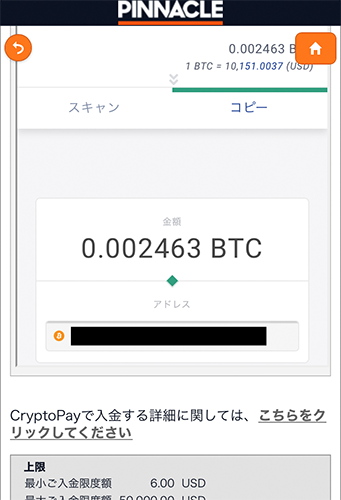 送金用ビットコインアドレス