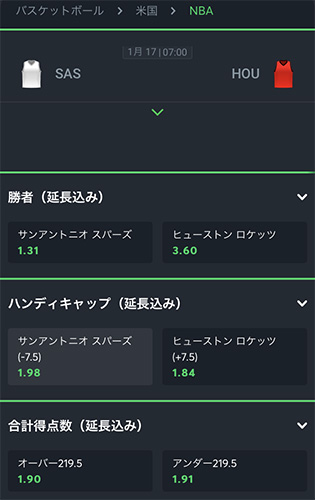 Sportsbet.ioでのNBAオッズ