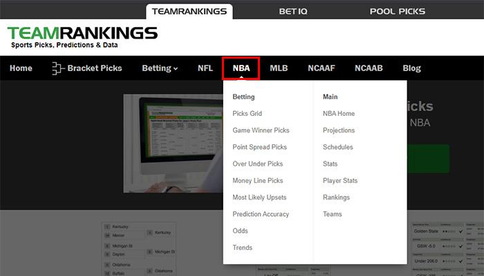 チームランキングスNBAデータへのアクセス
